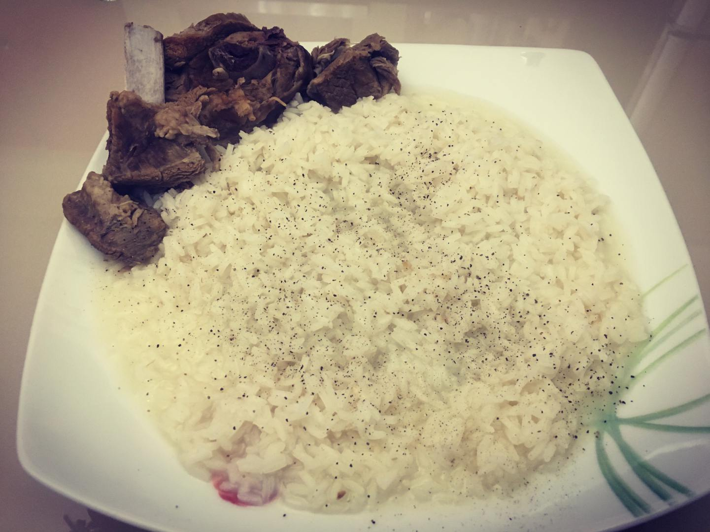 Rice, boiled in the broth of goat's or ewe's meat